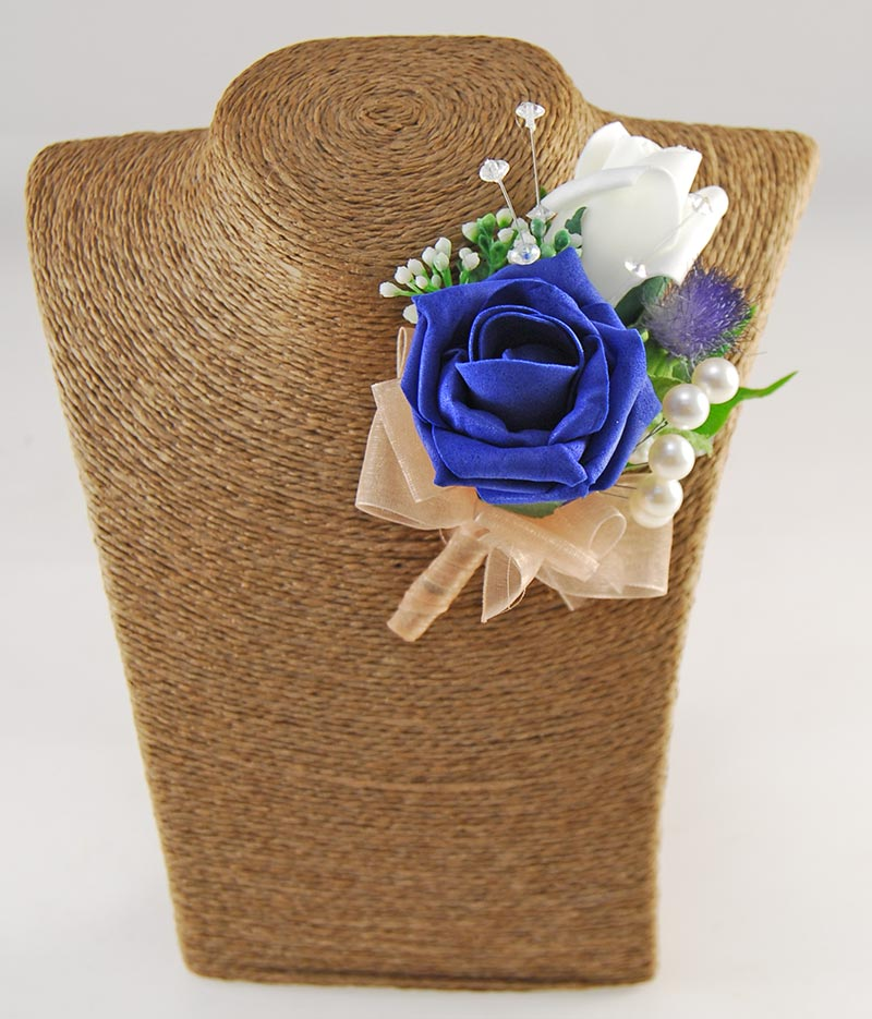 Tazmin Navy, Royal Blue, Ivory Rose, Pearl & Thistle Wedding Flower Package