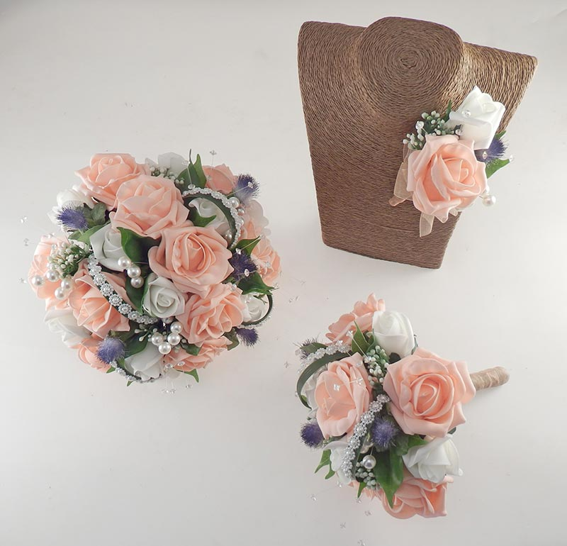 Tazmin Peach & Ivory Rose, Pearl & Thistle Wedding Flower Package