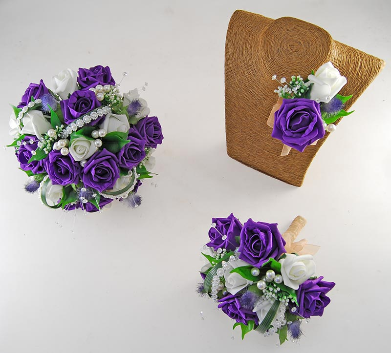 Tazmin Purple & Ivory Rose, Pearl & Thistle Wedding Flower Package