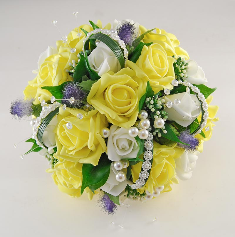 Tazmin Yellow & Ivory Rose, Pearl & Thistle Wedding Flower Package