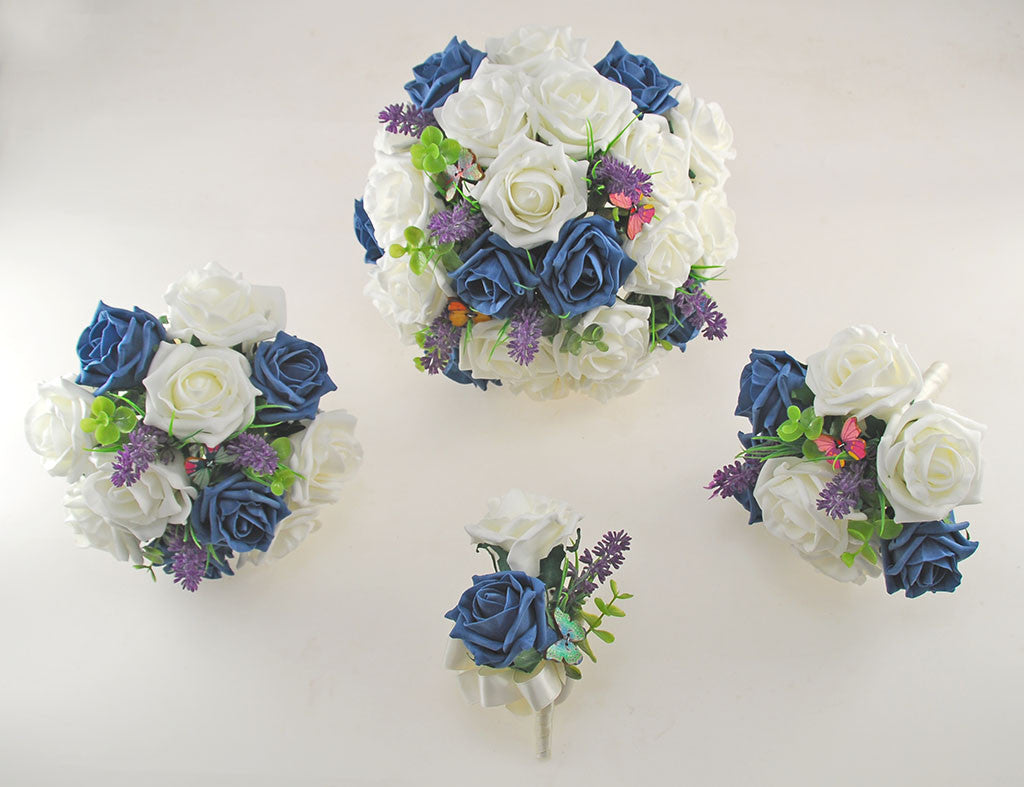 Teal & Ivory Rose Butterfly, Lavender Wedding Flower Package with ...