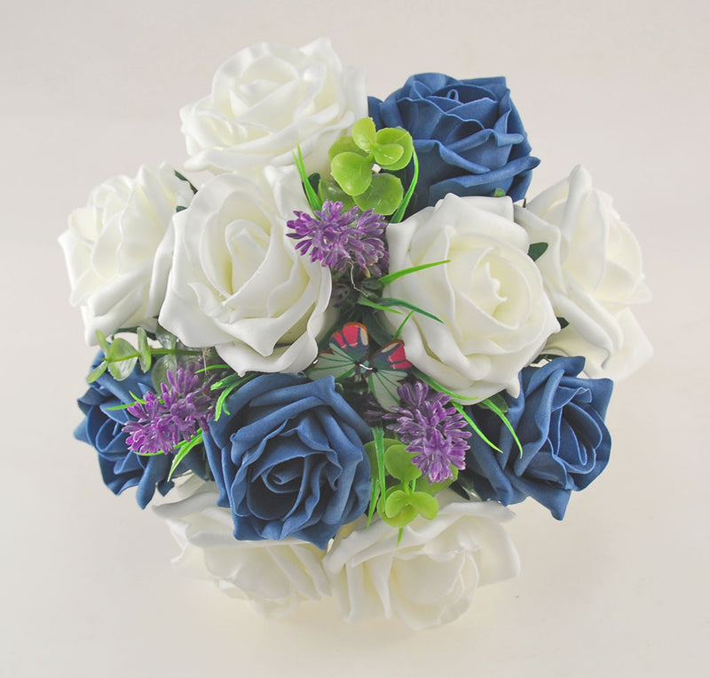 Teal & Ivory Rose Butterfly, Lavender Wedding Flower Package with Brides Bouquet, Bridesmaids Posy, Flower Girl Posy, Grooms Buttonhole
