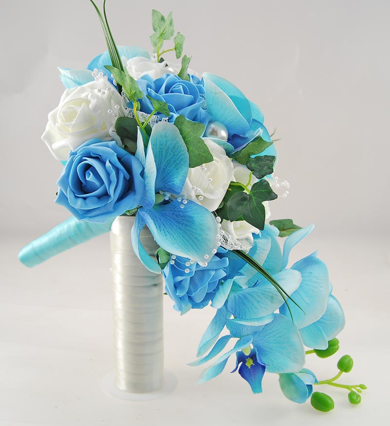 Ursula Aqua Blue Silk Orchid, Turquoise Rose & Pearl Wedding Package