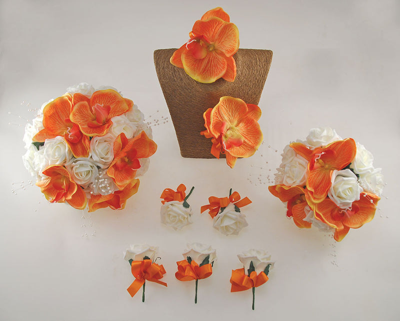 Orange Orchid and Ivory Foam Rose, Tropical Wedding Flower Package with Brides Bouquet, Bridesmaids Posy, Grooms Buttonhole, Hair Comb & Guest Buttonholes