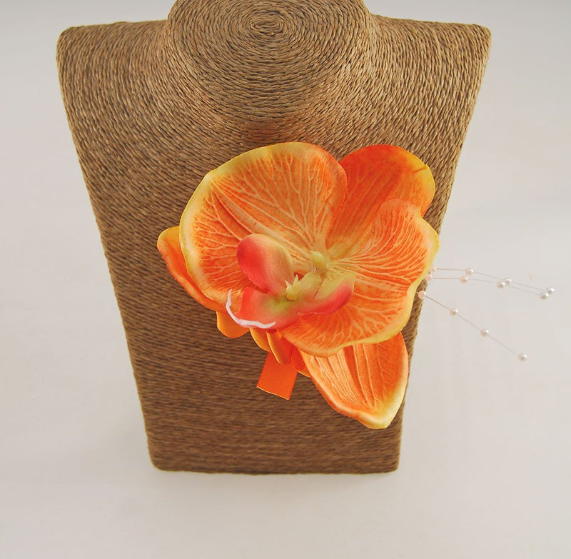 Yellow & Ivory Rose, Orange Orchid, Tropical Wedding Flower Package with Brides Bouquet, Bridesmaids Posy, Grooms Buttonhole, Hair Comb & Guest Buttonholes