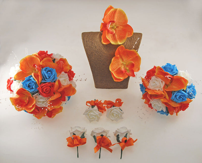 Orange Orchid, Turquoise, Coral and Ivory Foam Rose, Tropical Wedding Flower Package with Brides Bouquet, Bridesmaids Posy, Grooms Buttonhole, Hair Comb & Guest Buttonholes