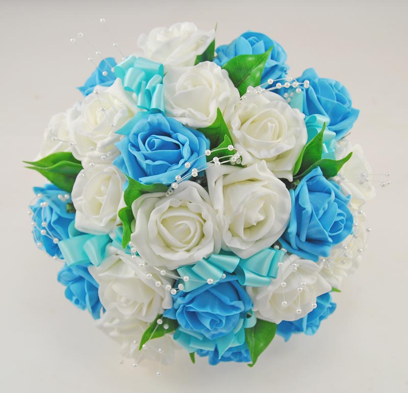 Turquoise Flowers For Wedding: Turquoise Blue, Ivory Rose & Pearl Bridal Wedding Bouquet