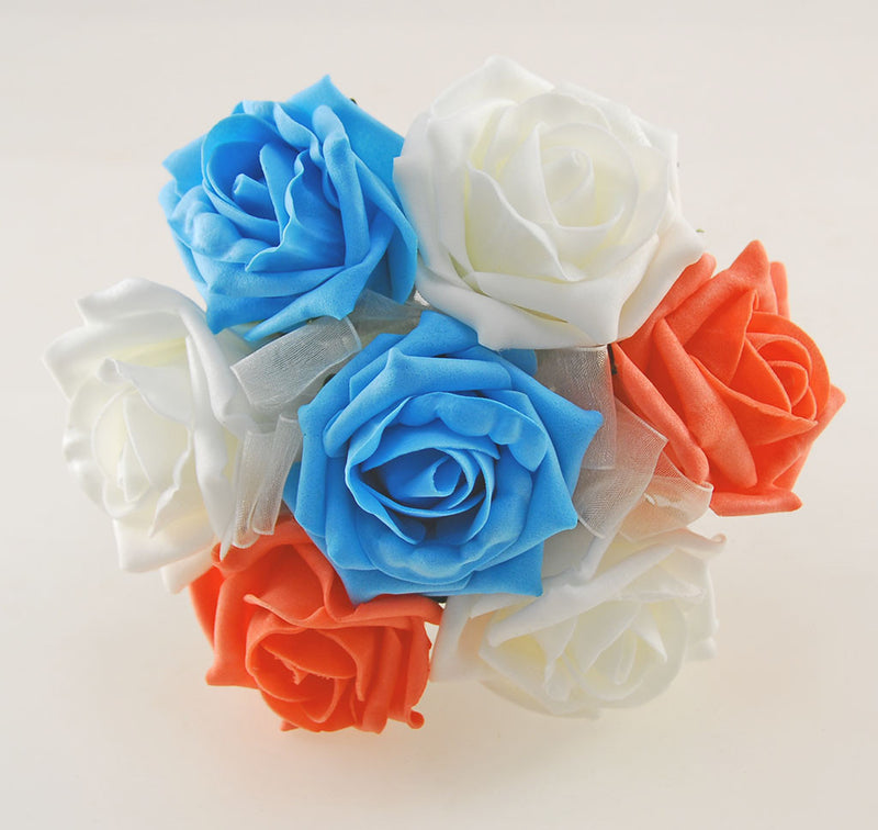 Turquoise, Coral & Ivory Foam Rose Wedding Shower Package with Brides Shower Bouquet, Bridesmaids Posy, Young Maids Posy, Flower Girl Wand & Grooms Buttonhole