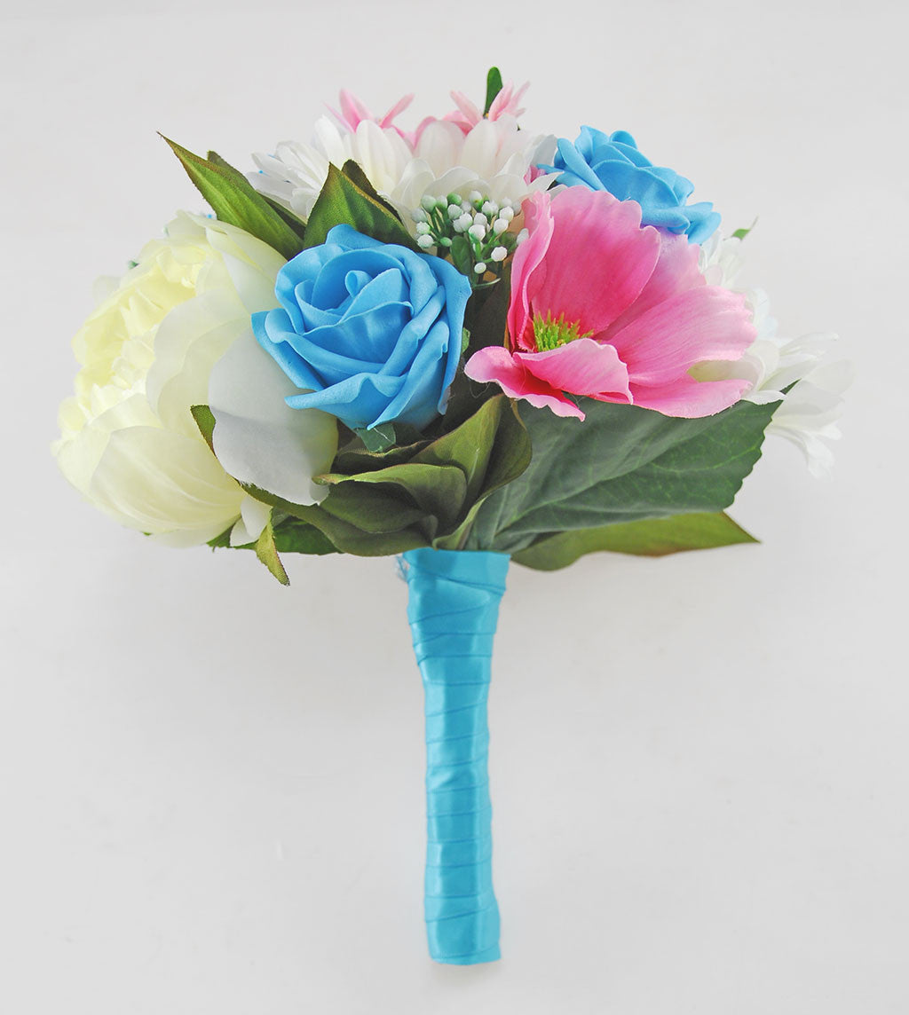 Turquoise Pink Ivory Silk Flower Bridal Wedding Bouquet Budget