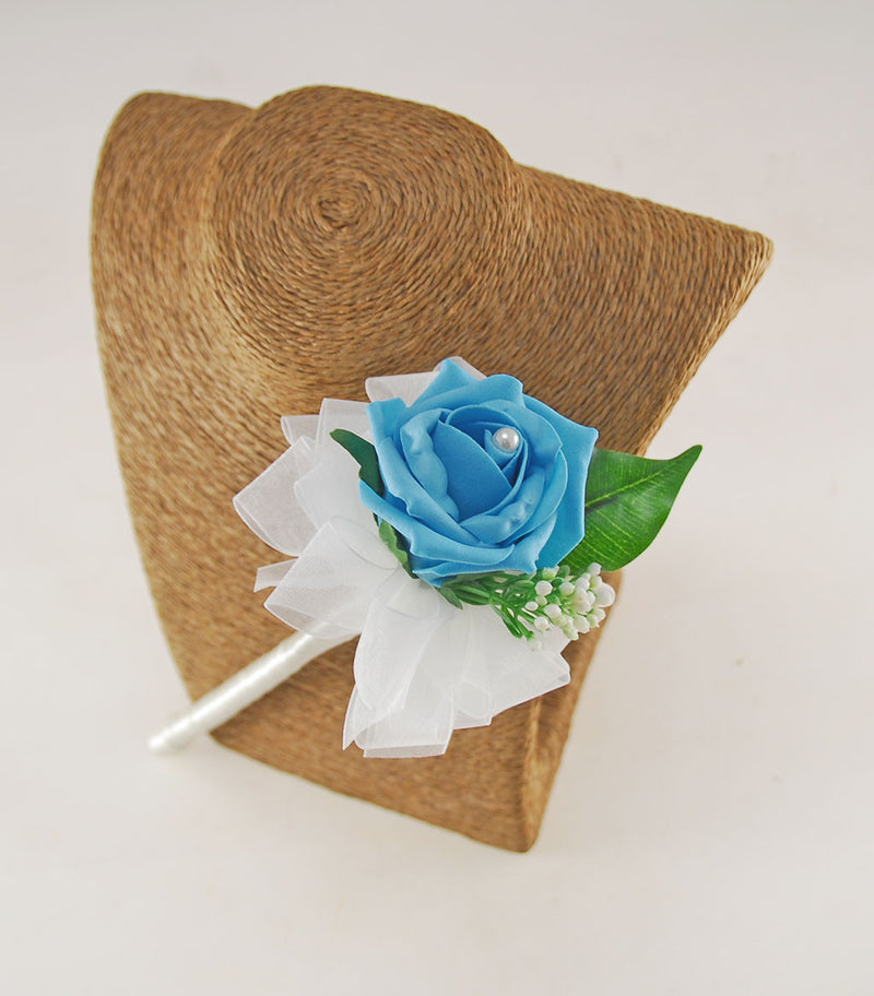 Turquoise Rose & Gypsophila Flower Girl Wedding Wand