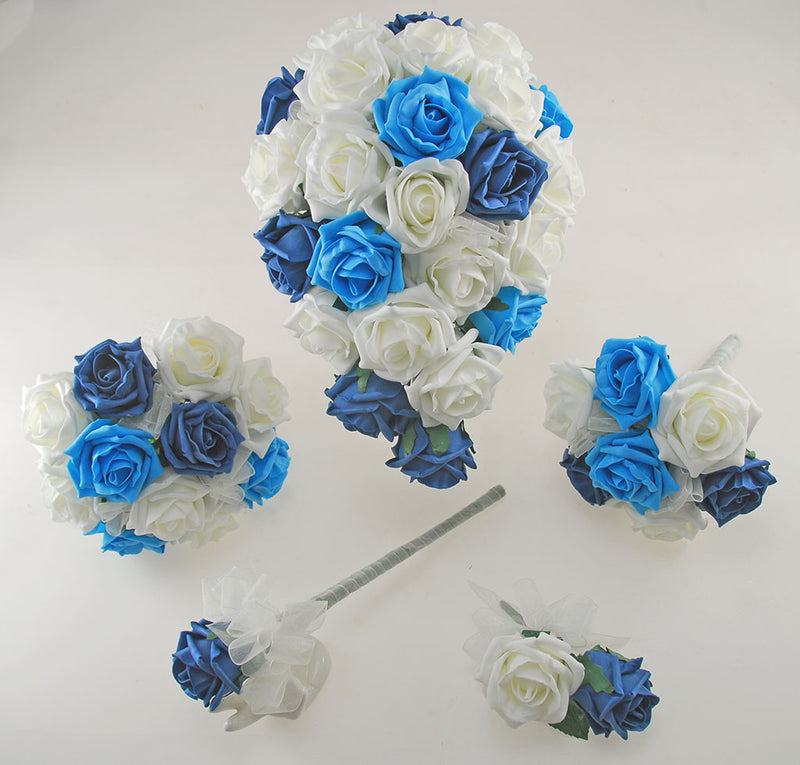 Turquoise, Teal & Ivory Foam Rose Wedding Shower Package with Brides Shower Bouquet, Bridesmaids Posy, Young Maids Posy, Flower Girl Wand & Grooms Buttonhole