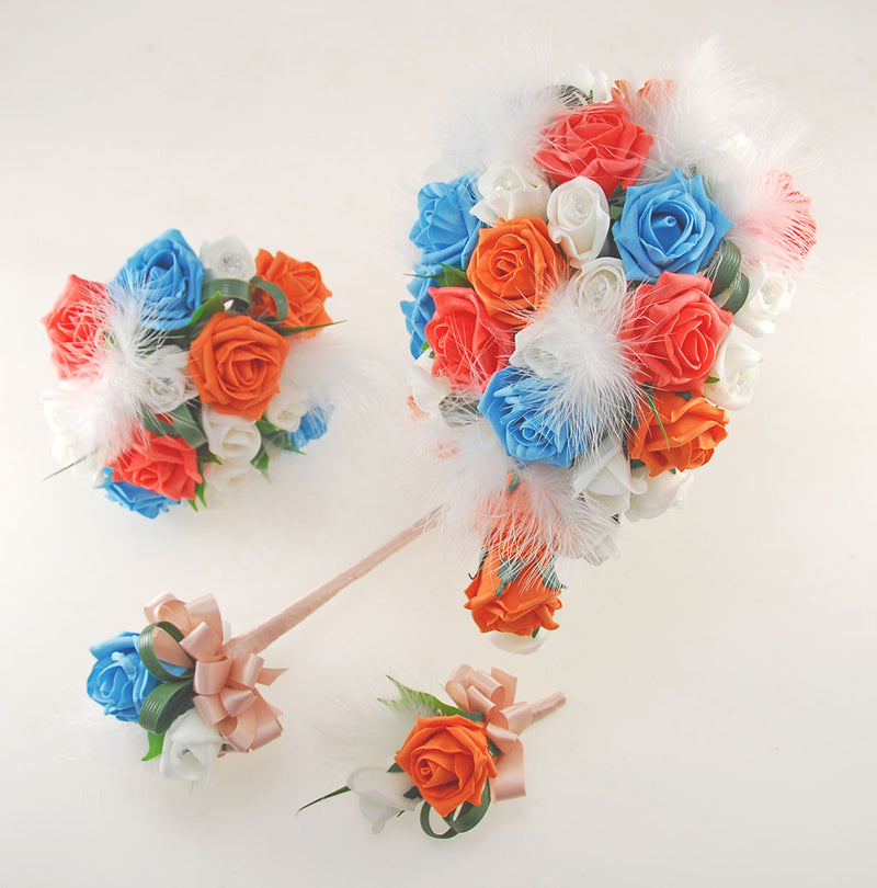 Rebecca Shower Package in Ivory Diamante Roses, Ivory Feathers with Turquoise and Orange Roses
