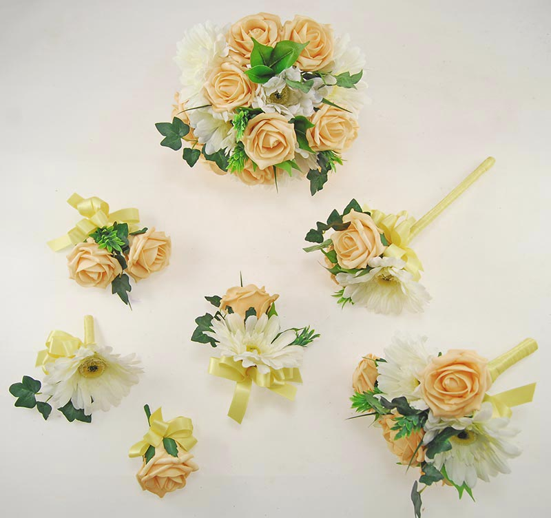 Uma Gold Rose, Ivory Silk Gerbera & Lemon Ribbon Wedding Flower Package