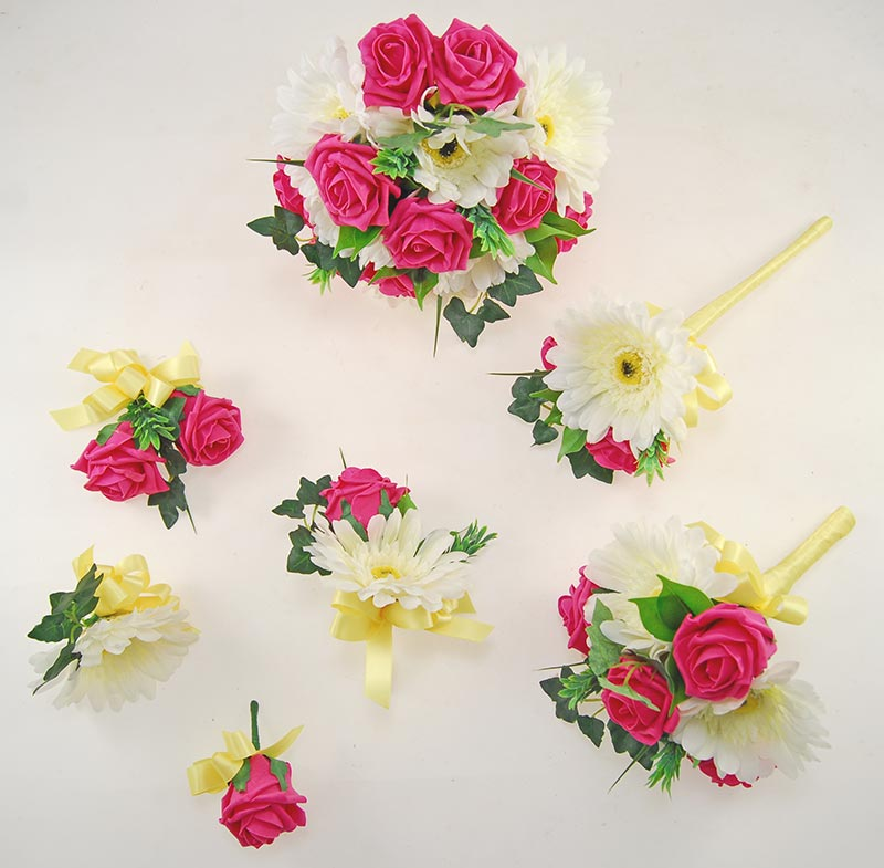 Uma Cerise Pink Rose, Ivory Silk Gerbera & Lemon Ribbon Wedding Flower Package