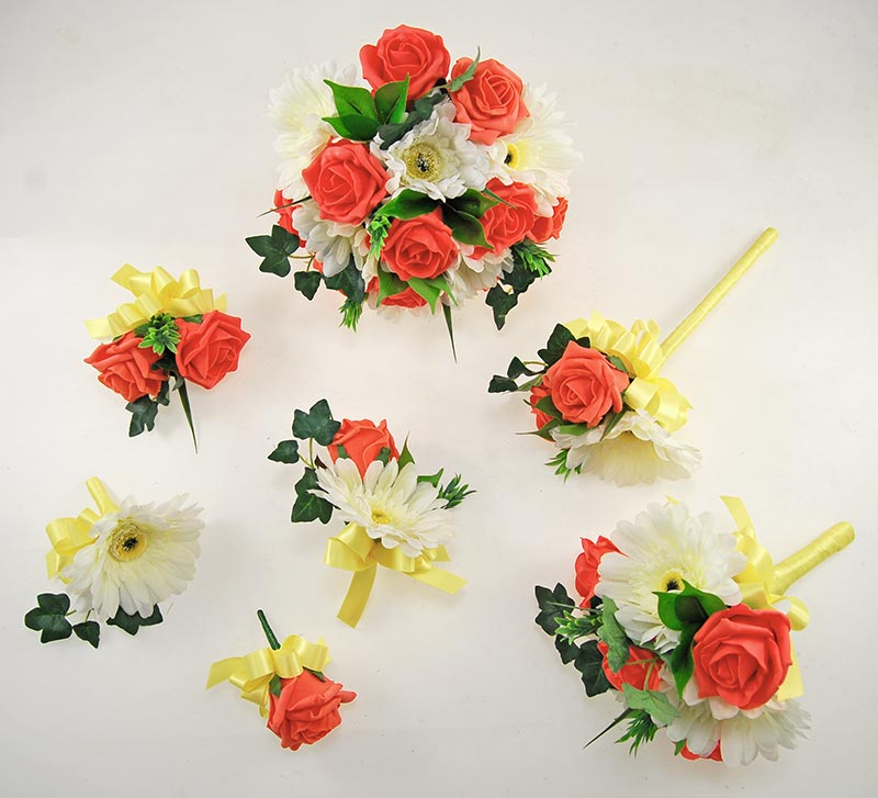 Uma Coral Rose, Ivory Gerbera & Lemon Ribbon Wedding Flower Package