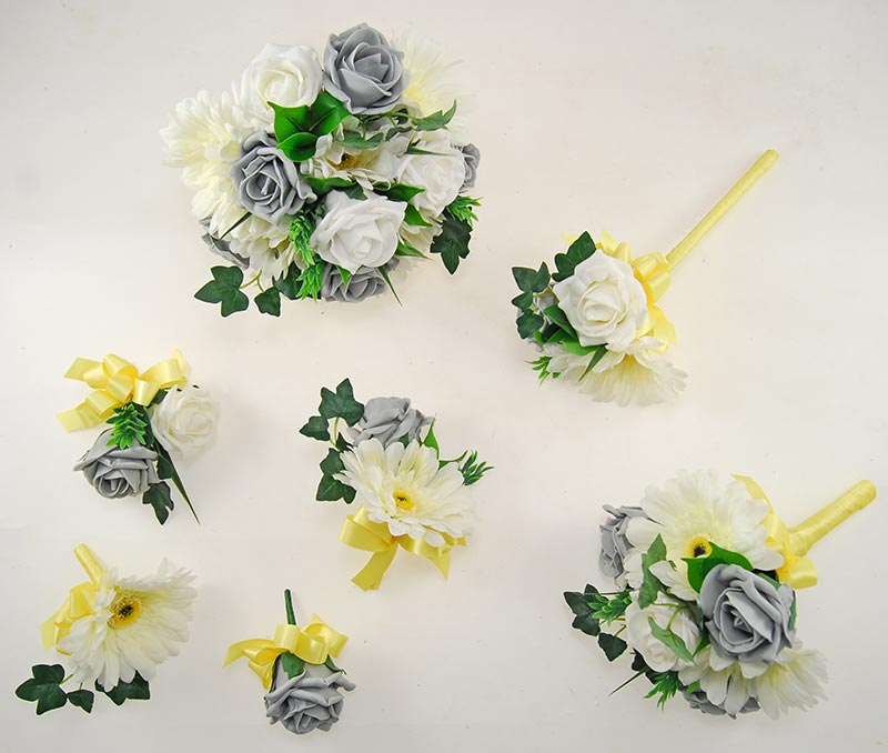 Uma Dark Grey Rose, Ivory Silk Gerbera & Lemon Ribbon Wedding Package