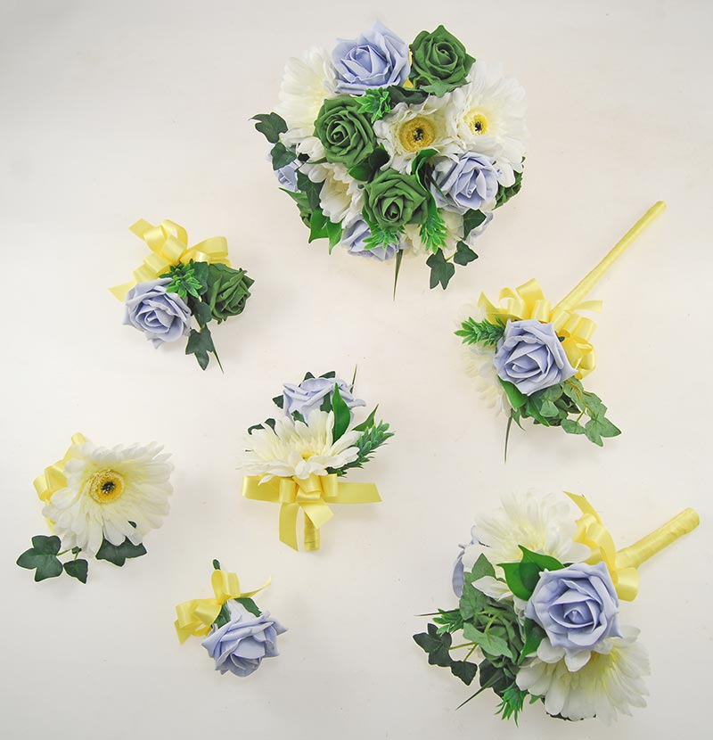 Uma Forest Green, Steel Blue Rose, Ivory Silk Gerbera & Lemon Ribbon Wedding Package