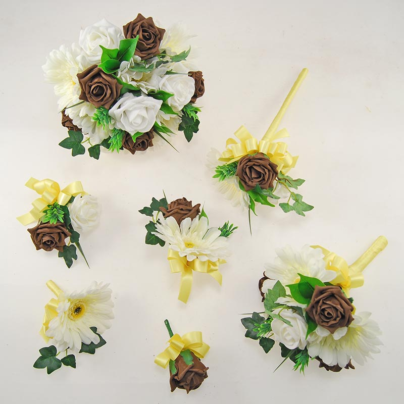 Uma Ivory, Brown Rose, Ivory Silk Gerbera & Lemon Ribbon Wedding Package