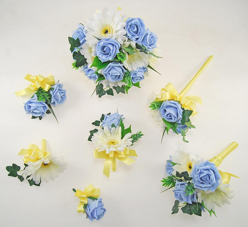 Uma Light Blue Rose, Ivory Silk Gerbera & Lemon Ribbon Wedding Flower Package