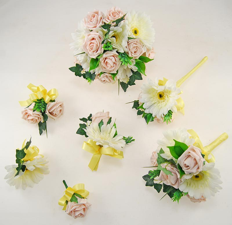 Uma Pink Mocha Rose, Ivory Silk Gerbera & Lemon Ribbon Wedding Flower Package