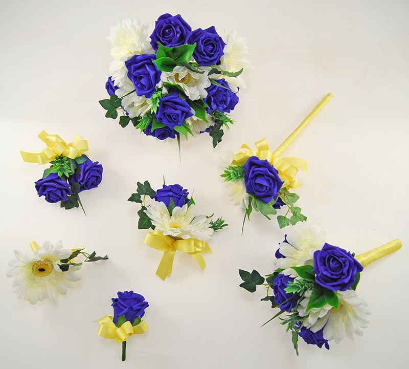 Uma Royal Blue Rose, Ivory Silk Gerbera & Lemon Ribbon Wedding Flower Package