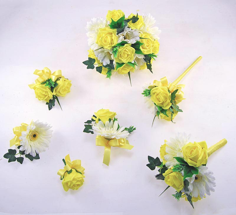 Uma Yellow Rose, Ivory Silk Gerbera & Lemon Ribbon Wedding Flower Package