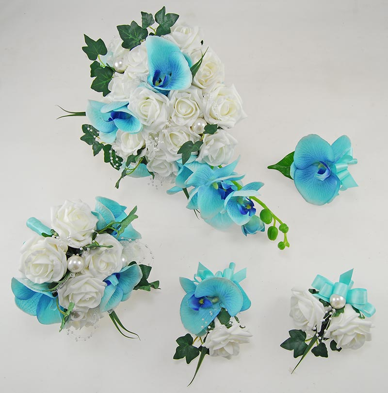 Ursula Aqua Blue Silk Orchid, Ivory Rose & Pearl Wedding Flower Package