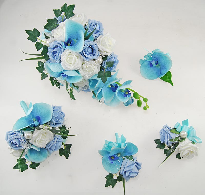 Ursula Aqua Blue Silk Orchid, Light Blue Rose & Pearl Wedding Package