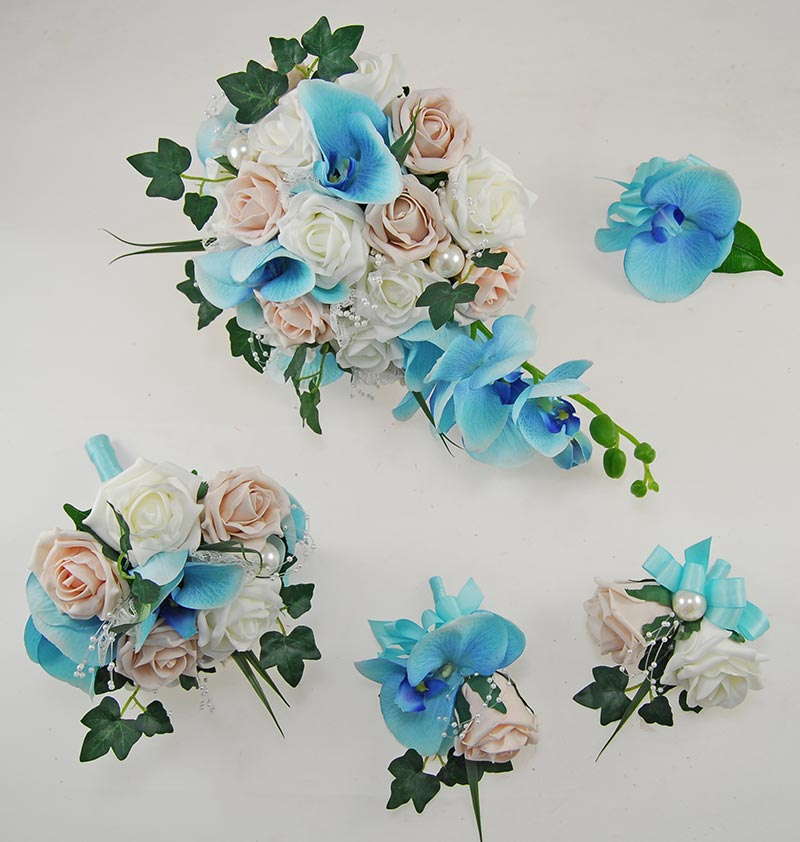 Ursula Aqua Blue Silk Orchid, Pink Mocha, Ivory Rose & Pearl Wedding Package