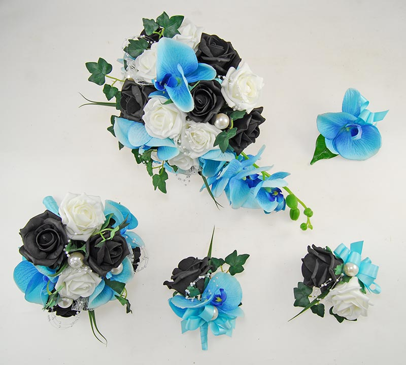 Ursula Aqua Silk Orchid, Black Foam Rose & Pearl Wedding Package