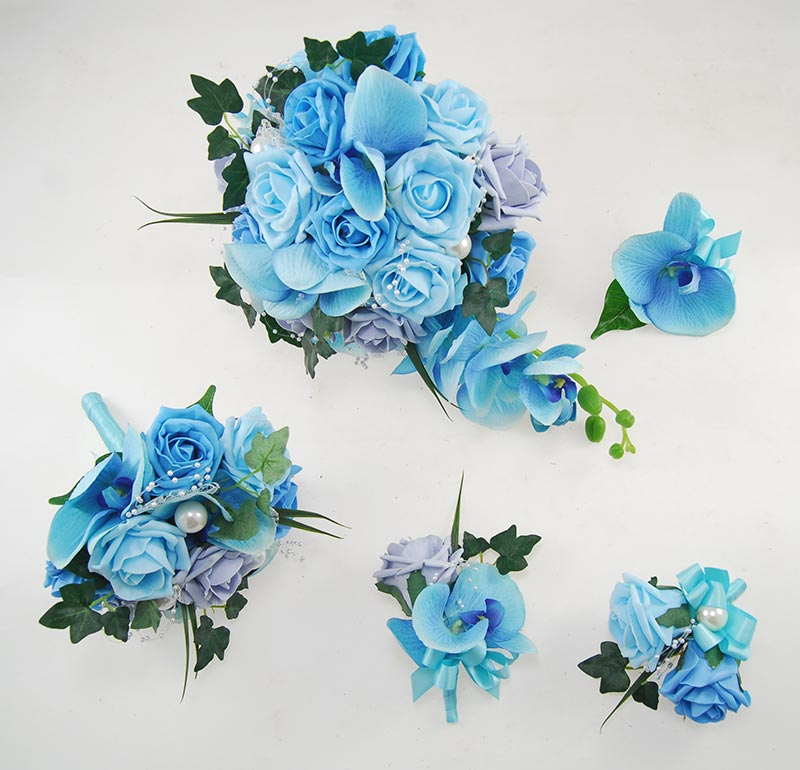 Ursula Aqua Silk Orchid Steel Blue, Aqua, Turquoise Rose & Pearl Wedding Package