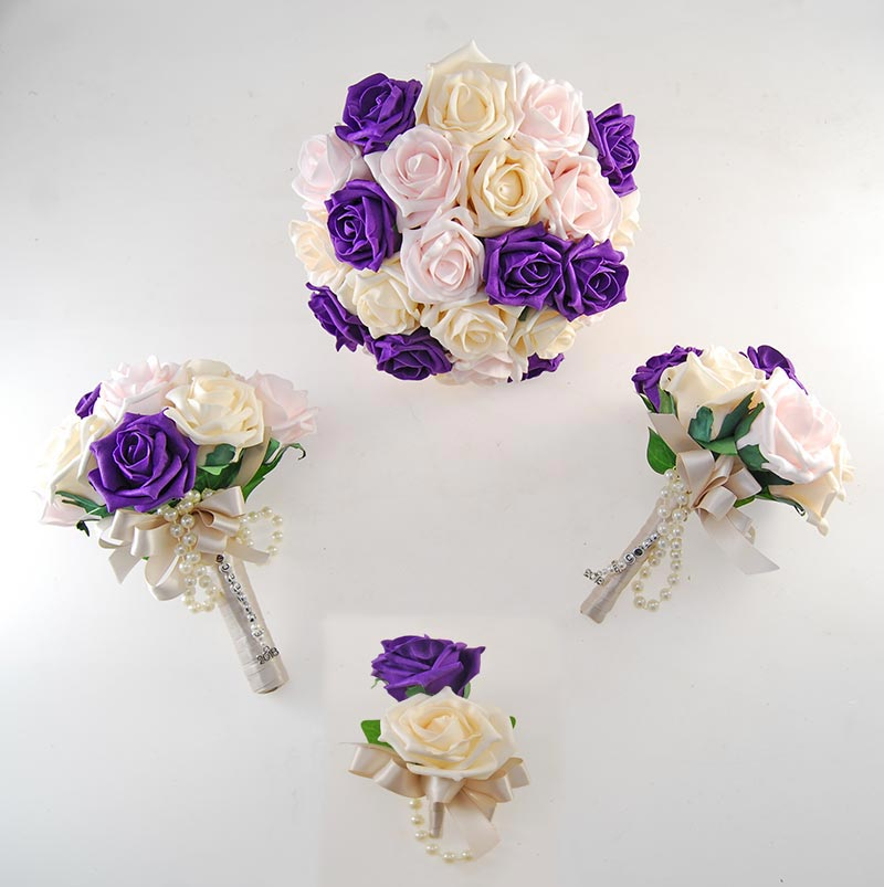 Vanessa Purple, Light pink, Cream Rose & Handle Name Charm Wedding Package