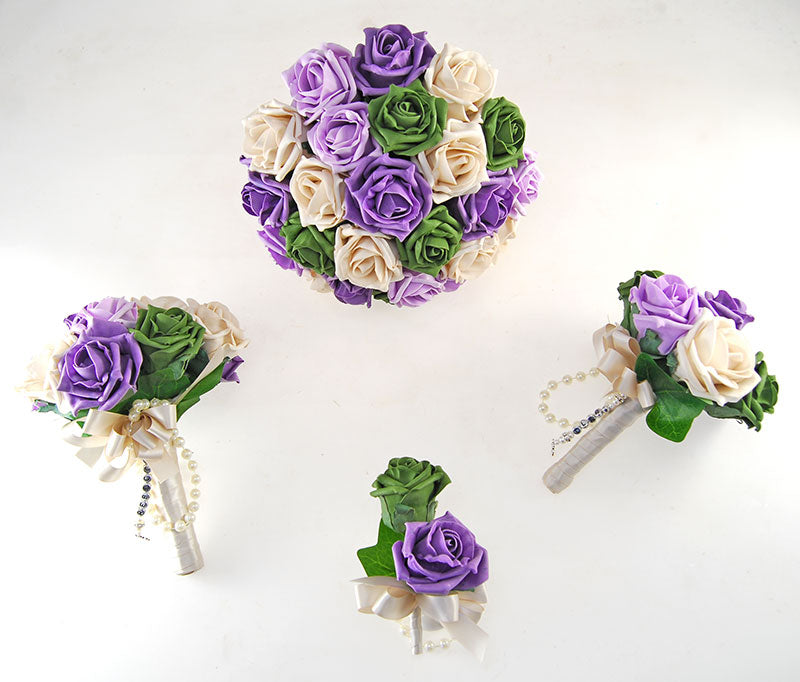 Vanessa Forest Green, Lilac, Aubergine, Mocha Rose & Handle Name Charm Wedding Package
