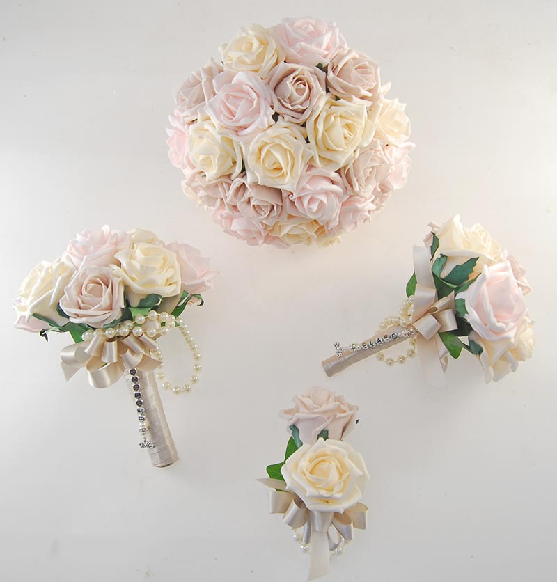 Vanessa Pink Mocha, Cream Rose & Handle Name Charm Wedding Package