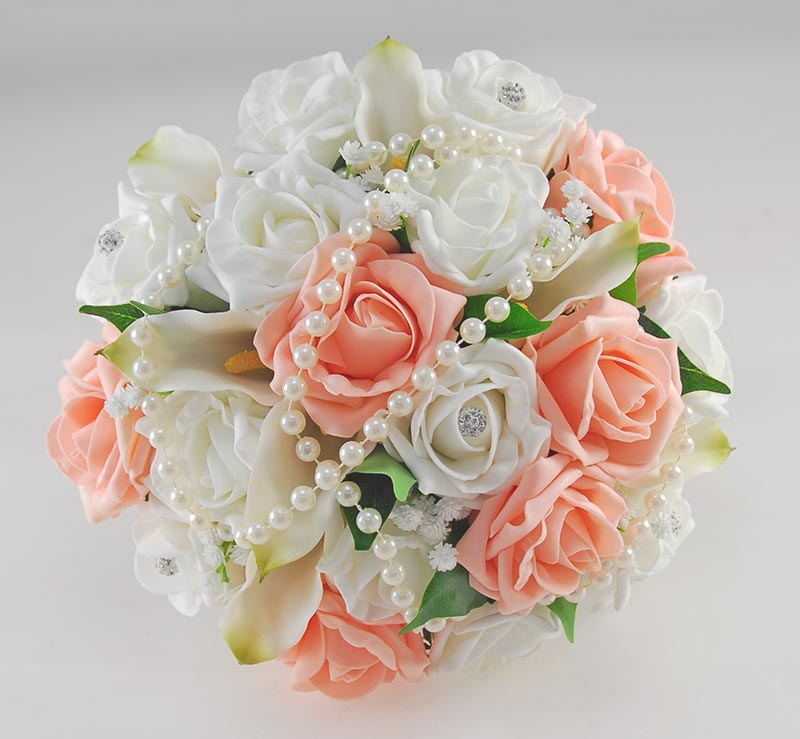 Victoria Pearl, Calla Lily, Peach & Ivory Rose Wedding Flower Package
