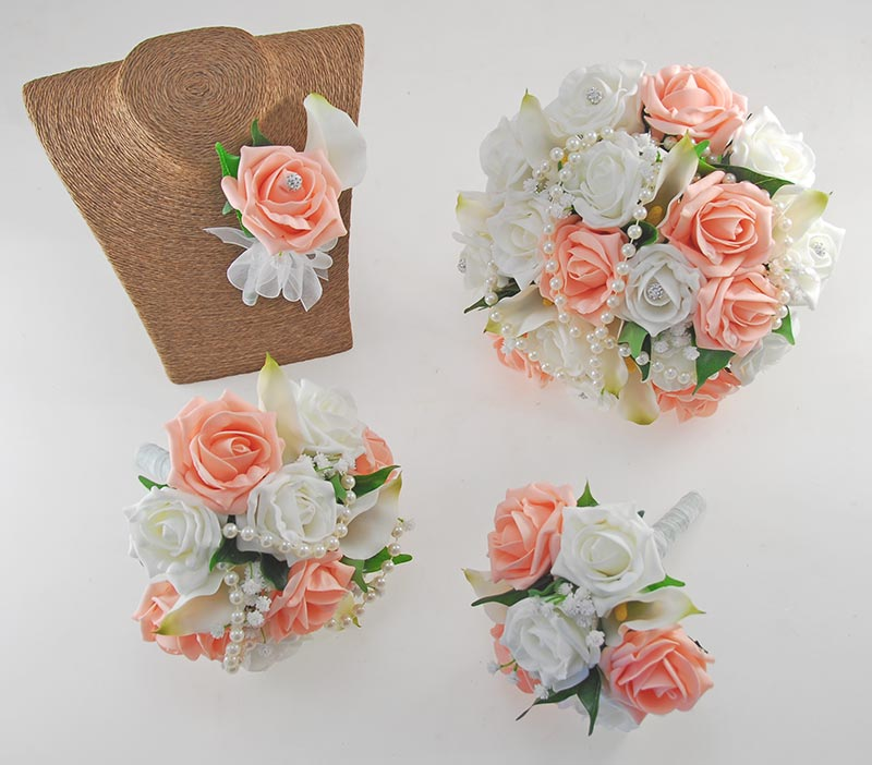 Wedding Flowers On A Budget Uk: Victoria Pearl, Calla Lily, Peach & Ivory Rose Wedding