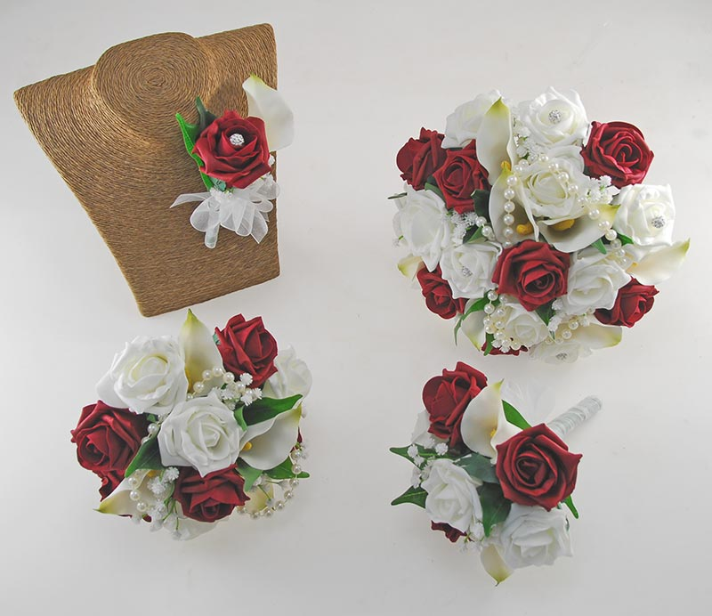 Victoria Pearl, Ivory Calla Lily, Burgundy & Ivory Rose Wedding Flower Package