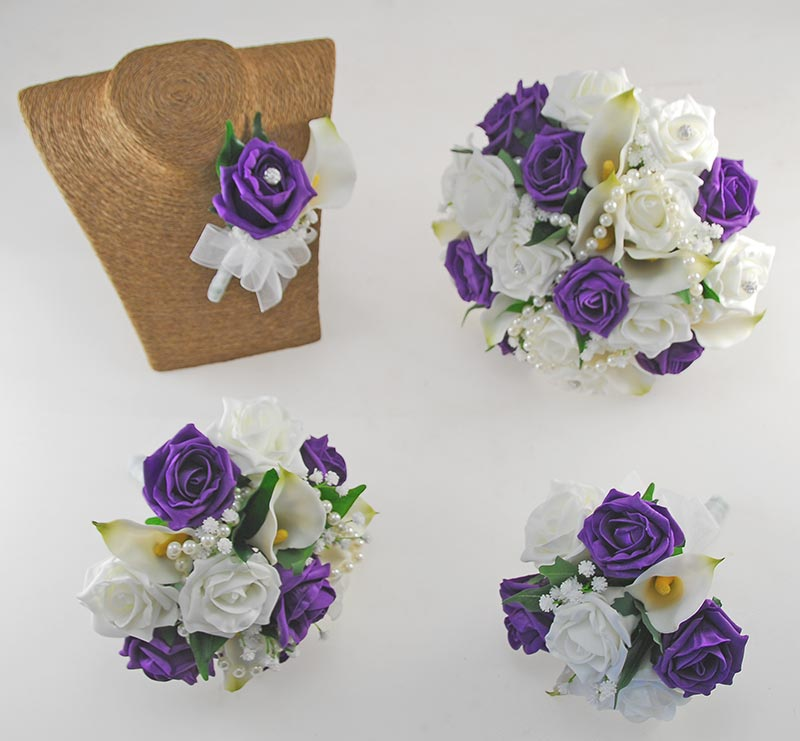 Victoria Pearl, Ivory Calla Lily, Purple & Ivory Rose Wedding Flower Package