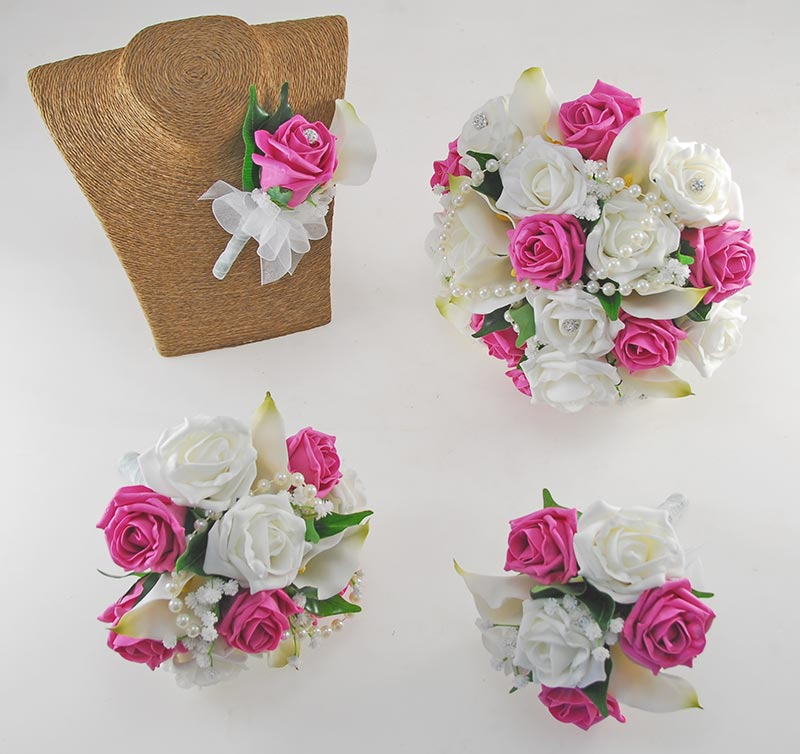 Victoria Pearl, Ivory Calla Lily, Dark Pink & Ivory Rose Wedding Flower Package