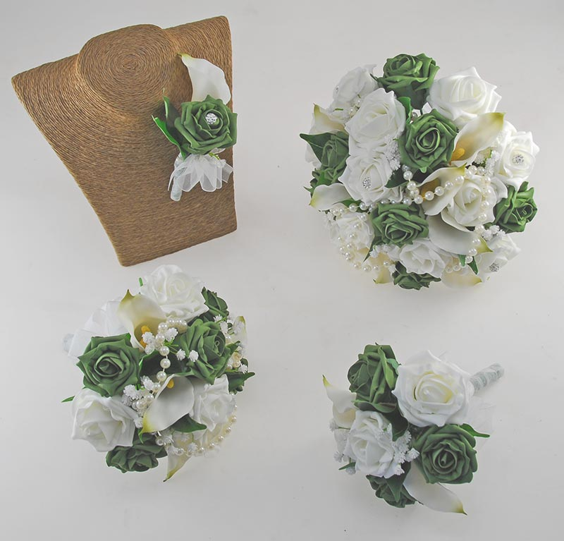 Victoria Pearl, Ivory Calla Lily, Forest Green & Ivory Rose Wedding Flower Package