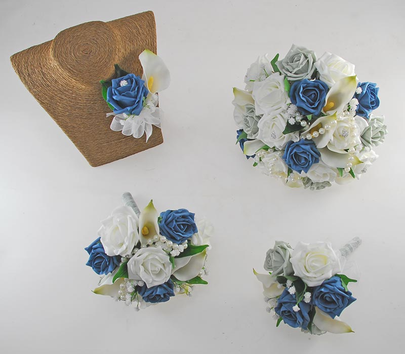 Victoria Pearl, Ivory Calla Lily, Grey, Teal & Ivory Rose Wedding Flower Package