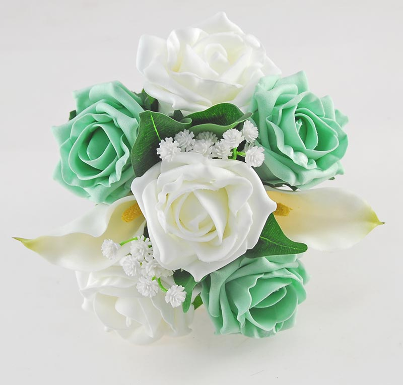 Victoria Pearl, Ivory Calla Lily, Mint Green & Ivory Rose Wedding Flower Package