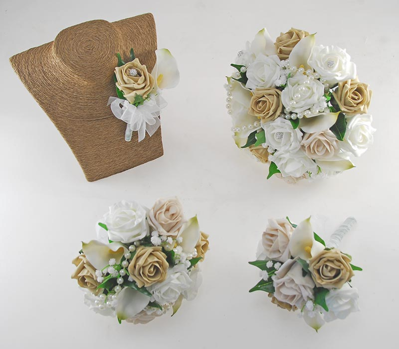 Victoria Pearl, Ivory Calla Lily, Mocha, Coffee & Ivory Rose Wedding Flower Package