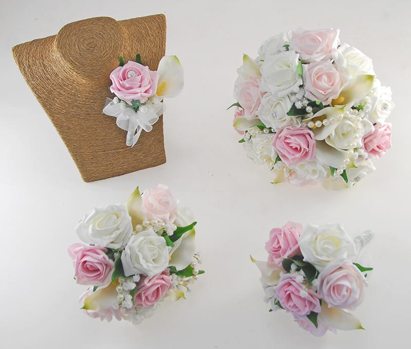 Victoria Pearl, Ivory Calla Lily, Dusky Light Pink & Ivory Rose Wedding Flower Package