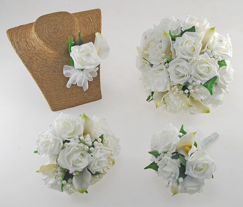 Victoria Pearl, Calla Lily & Ivory Foam Rose Wedding Flower Package