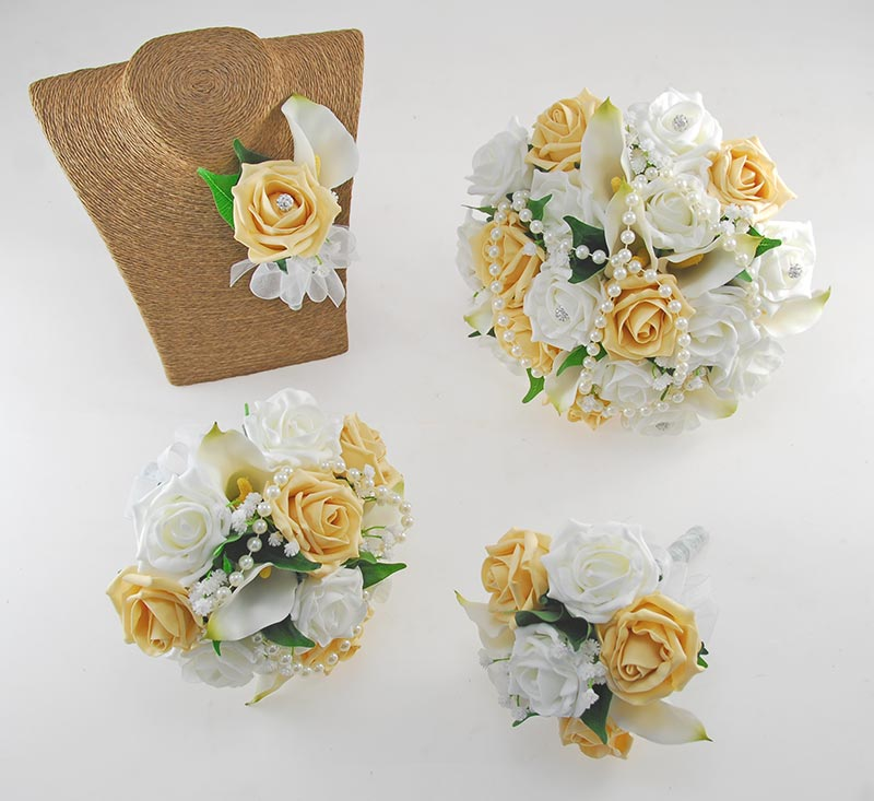 Victoria Pearl, Calla Lily, Pale Gold & Ivory Rose Wedding Flower Package