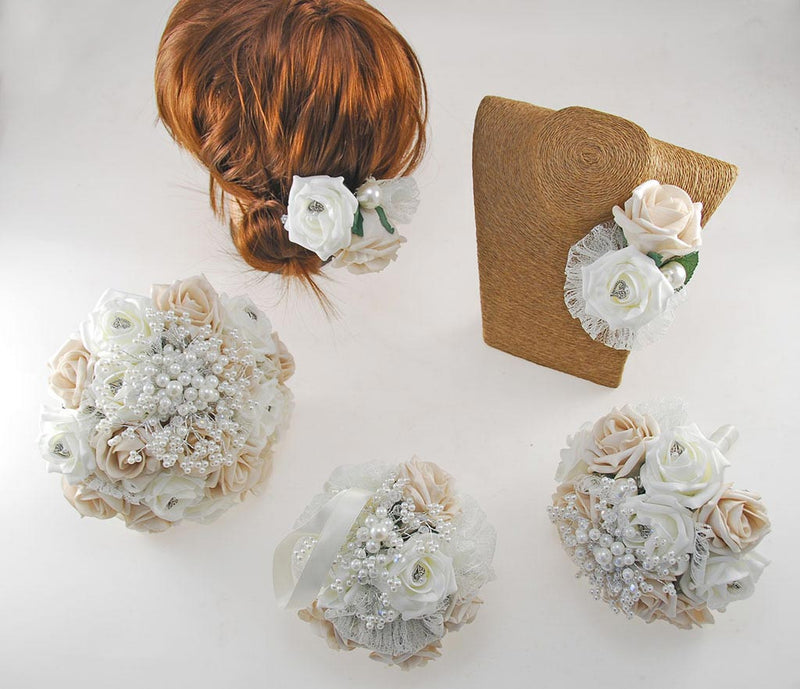 Vintage Heart Wedding Flower & Pearl Package in Mocha, Ivory Foam Roses