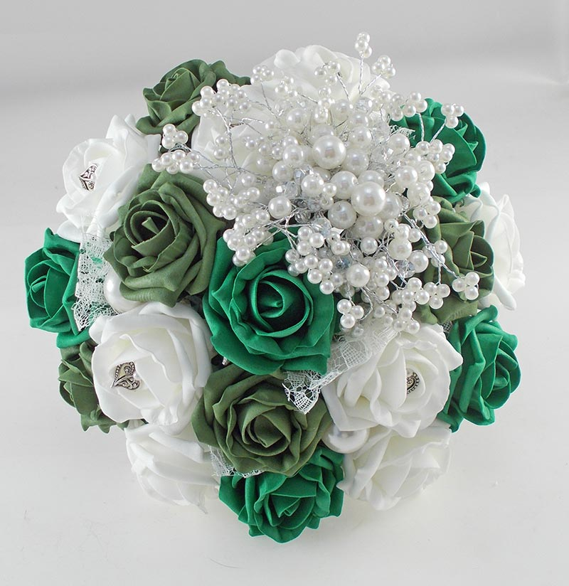 Vintage Heart Wedding Flower Package, Forest, Emerald Green & Ivory Foam Roses