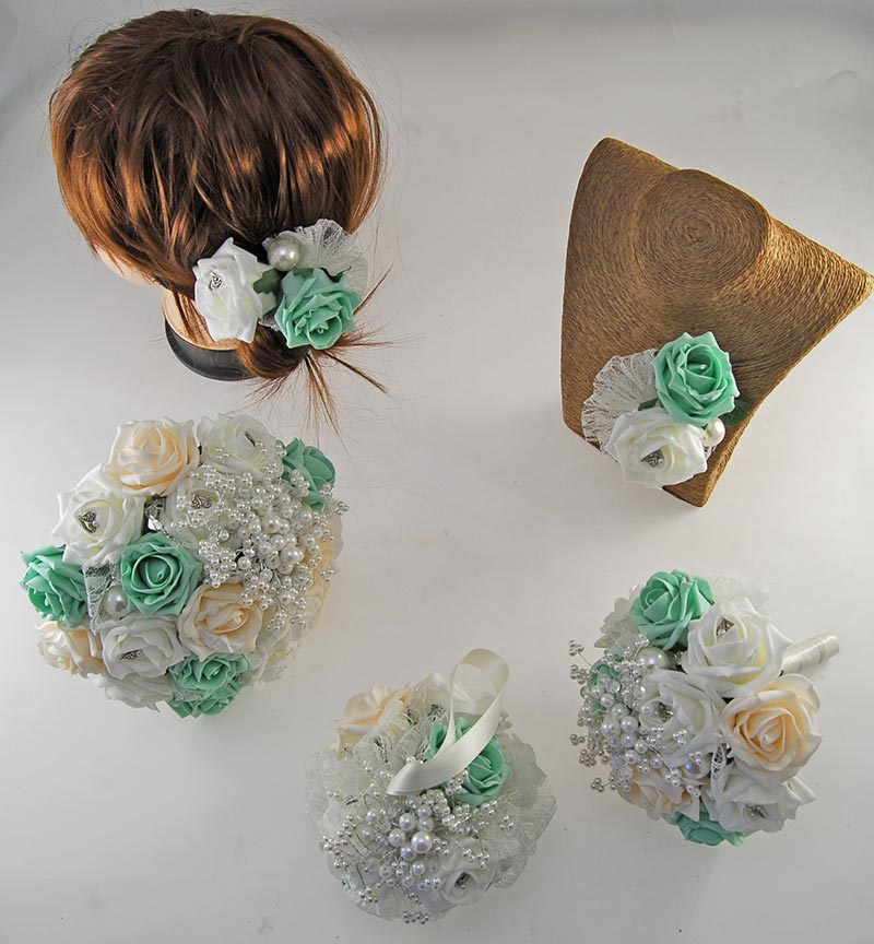 Vintage Heart Wedding Flower Package, Mint Green, Cream & Ivory Foam Roses