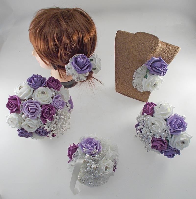 Vintage Heart Wedding Flower Package, Plum, Lilac, Aubergine & Ivory Foam Roses
